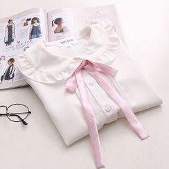 Moricode - 短袖荷葉邊襯衫