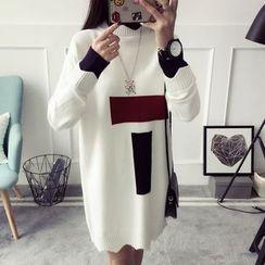 Qimi - Color Block Mock Neck Knit Dress