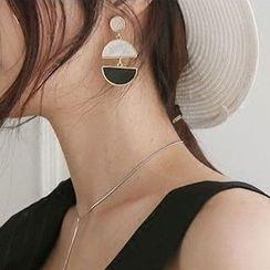 Ticoo - Two-tone Drop Earrings