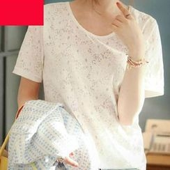 OTTI - Jacquard Lace Short Sleeves T-shirt