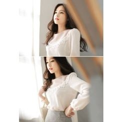 MyFiona - Lace-Trim Puff-Sleeve Chiffon Top