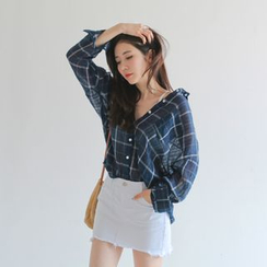 WITH IPUN - Pocket-Front Plaid Linen Shirt