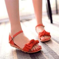 Shoes Galore - Bow Accent Ankle Strap Sandals