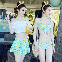 Sweet Splash - Set: Lemon Print Bikini + Off-Shoulder Top + Skirt