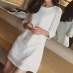 Arroba - Lace 3/4 Sleeve Mini Dress