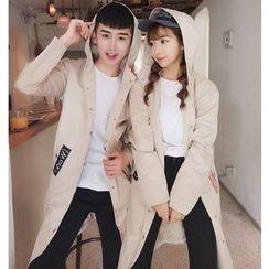 Evolu Fashion - Couple Matching Applique Hooded Long Jacket