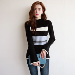 NIPONJJUYA - Color-Block Rib-Knit Top