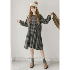 GOROKE - Round-Neck Shirred Tiered Plaid Dress
