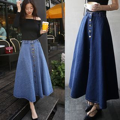 Denim Fever - Midi A-Line Denim Skirt