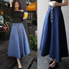 Denim Fever - Midi A-Line Denim Skirt