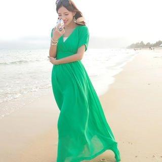 JK2 - Short-Sleeve Maxi Chiffon Dress
