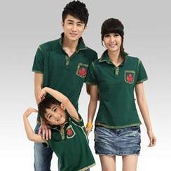 Igsoo - 印花情侶及小童短袖馬球衫
