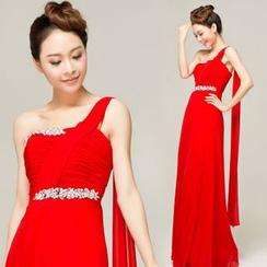 Gracia - One-Shoulder Rhinestone A-Line Evening Gown