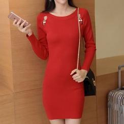 lilygirl - Cutout Knit Bodycon Dress