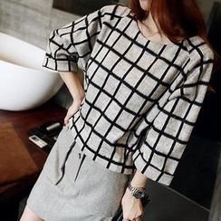 Sisi Fashion - 3/4-Sleeve Check Top