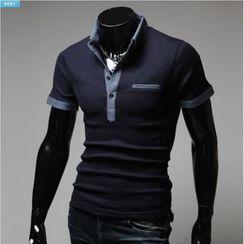 WIZIKOREA - Contrast-Trim Polo Shirt