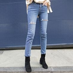 WITH IPUN - Distressed Skinny Jeans