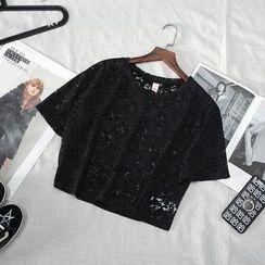 CERA - 碎花短袖短款上衣