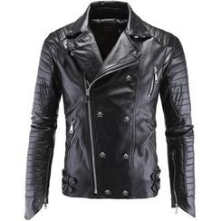 Constein - Skull Studded Faux Leather Jacket