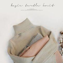 STYLEBYYAM - Turtle-Neck Long Knit Top