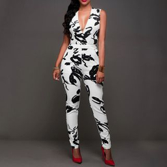 Charlotte - V-Neck Printed Jumpsuit
