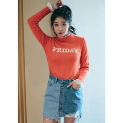 Chlo.D.Manon - Crew-Neck Lettering Knit Top