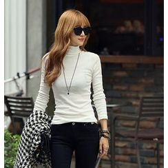REDOPIN - Turtle-Neck Ribbed Top