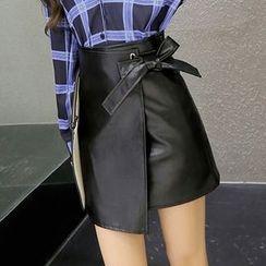 Oaksa - Faux Leather Wrap-Front A-Line Skirt