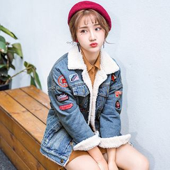FancyMe - Patch Embroidered Fleece Lined Denim Jacket