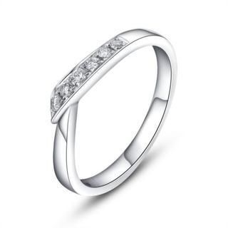 MaBelle - 18K White Gold Classic Diamond Women Wedding Engagement Ring (0.1cttw)