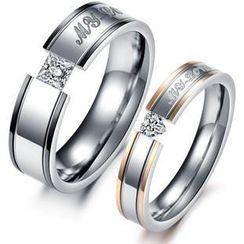 Tenri - Couple Rhinestone Titanium Steel Ring