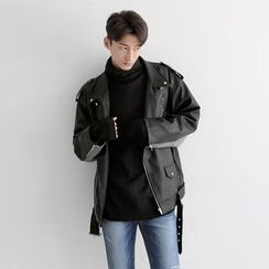 Seoul Homme - Boxy-Fit Faux-Leather Rider Jacket