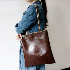 TZ - Embossed Faux Leather Shopper Bag