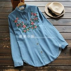 YOYO - Long-Sleeve Embroidery Denim Shirt