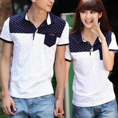 Igsoo - Print Couple Short-Sleeve Polo Shirt