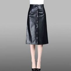 Manilu - Buttoned Faux Leather Midi Skirt
