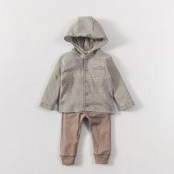 MOM Kiss - 婴儿套装: 条纹连帽长袖上衣 + 纯色长裤
