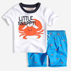 Happy Go Lucky - Kids: Crab Applique Short Sleeve T-Shirt + Printed Shorts