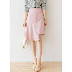 J-ANN - Banded-Waist Asymmetric-Hem Skirt