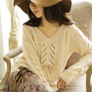 Tokyo Fashion - V-Neck Pointelle Cable-Knit Sweater