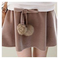 Sechuna - Pom-Pom Trim A-Line Skirt