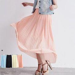 BAIMOMO - Elastic-Waist Pleated Maxi Skirt