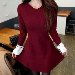 DABAGIRL - Contrast-Cuff A-Line Mini Dress