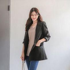 Seoul Fashion - Peaked-Lapel Single-Button Jacket