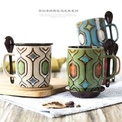 Jarsun - Printed Mug with Spoon & Lid