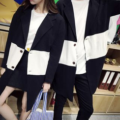 Simpair - Couple Matching Two-Tone Button Jacket