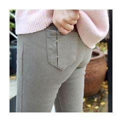 LEELIN - Brushed-Fleece Leggings Pants