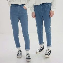 Seoul Homme - Couple Band-Waist Jeans