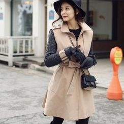 WINGSMALL - Knit-Sleeve Flap-Front Trench Coat