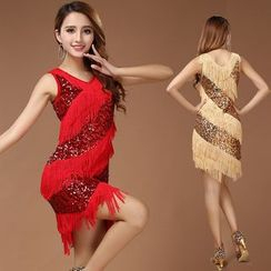 MATITA - Fringed Sequin Latin Dance Dress